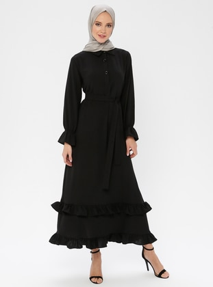 Black - Point Collar - Unlined -  - Dress