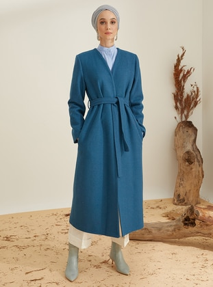 Petrol - Fully Lined - V neck Collar - Wool Blend - Coat