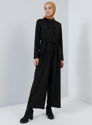 Black - Unlined - Point Collar - Jumpsuit