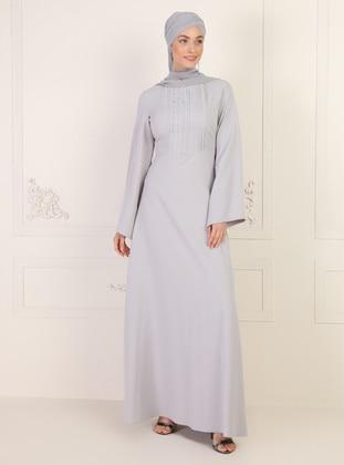Gray - Crew neck - Unlined - Dress
