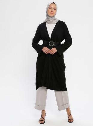 Black - Unlined - Shawl Collar -  - Topcoat