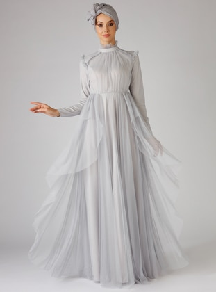 Gray - Fully Lined - Polo neck - Muslim Evening Dress