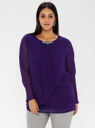 Purple - Crew neck - Plus Size Tunic