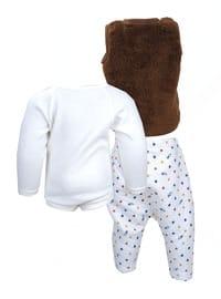 Polka Dot - Crew neck -  - Ecru - Brown - Baby Suit