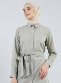 Haki - Fransız yakalı - Astarsız kumaş - Viskon - Elbise