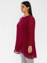Fuchsia - Crew neck - Plus Size Tunic