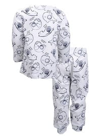 Multi - Crew neck -  - Ecru - Boys` Pyjamas