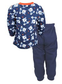 Multi - Crew neck -  - Navy Blue - Boys` Pyjamas