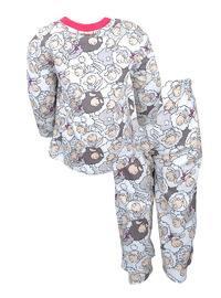 Multi - Crew neck -  - Pink - Girls` Pyjamas