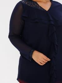 Navy Blue - Crew neck - Plus Size Tunic