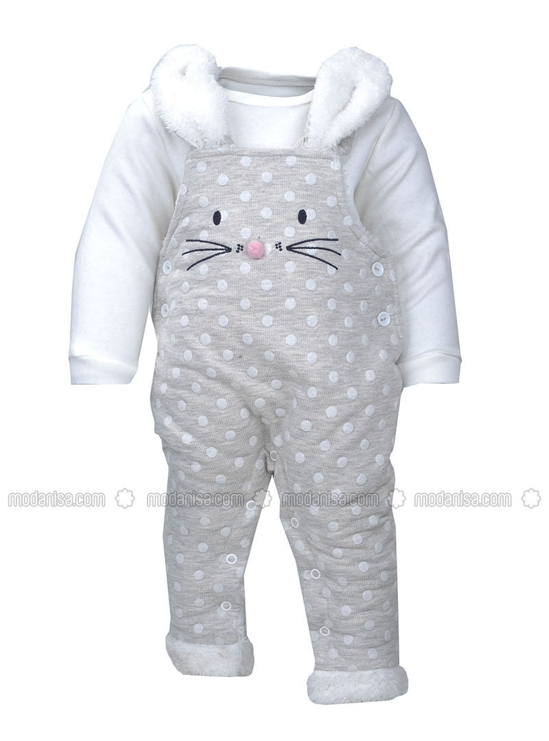 Polka Dot - Crew neck -  - Ecru - Gray - Baby Suit