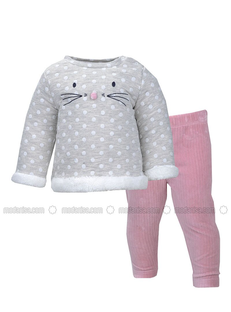 Polka Dot - Crew neck -  - Gray - Dusty Rose - Baby Suit