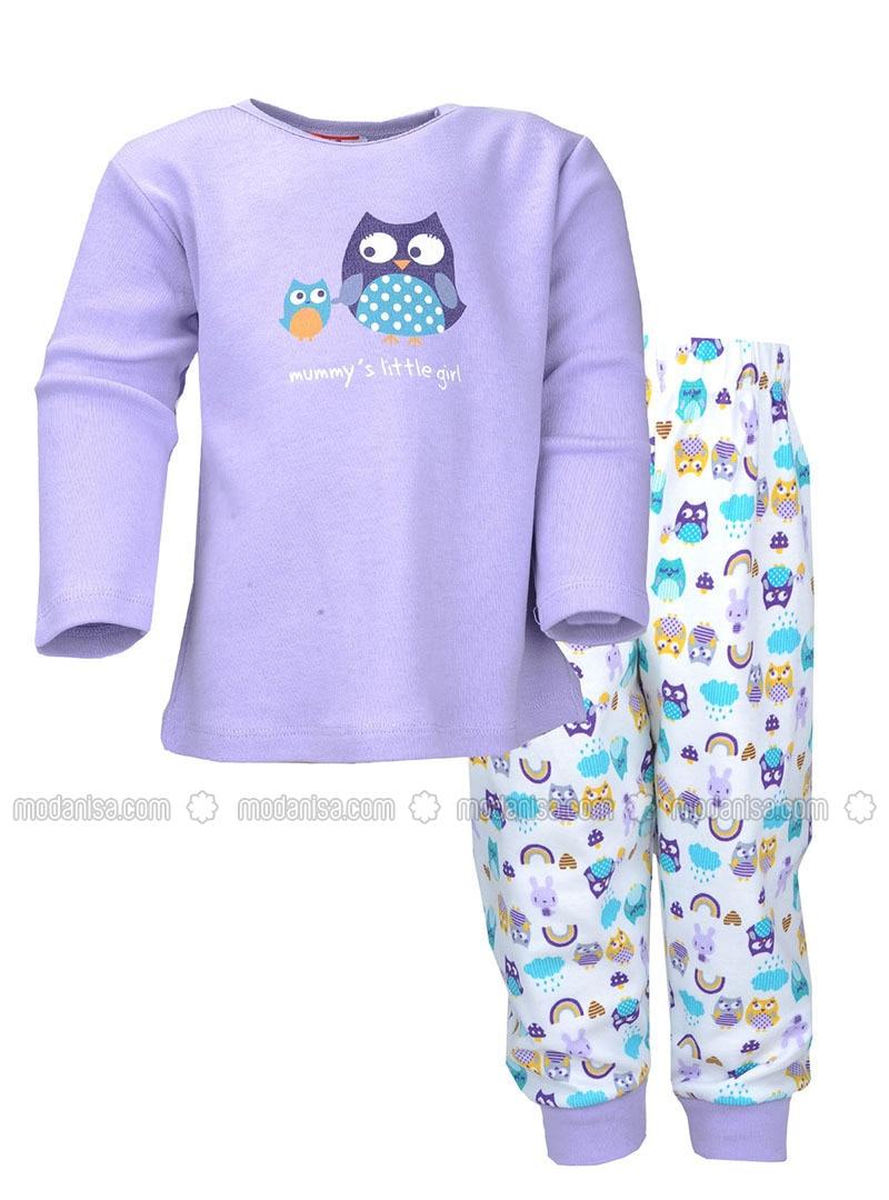 Multi - Crew neck -  - Lilac - Girls` Pyjamas