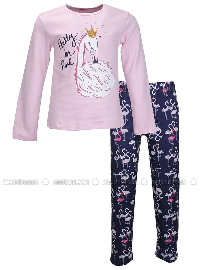 Multi - Crew neck -  - Pink - Girls` Pyjamas