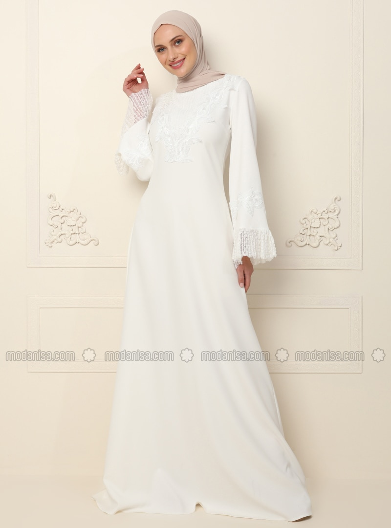 Ecru - Unlined - Crew neck - Muslim Evening Dress