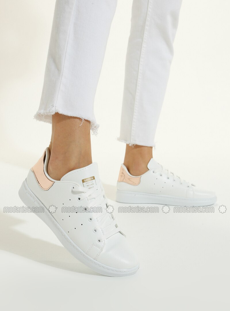 White - Gold - Sport - Sports Shoes