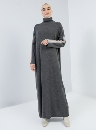 Anthracite - Polo neck - Unlined - Acrylic -  - Dress