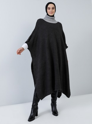 Anthracite - Polo neck - Unlined - Acrylic -  - Poncho
