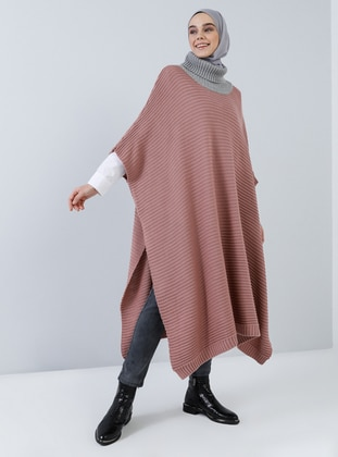 Dusty Rose - Polo neck - Unlined - Acrylic -  - Poncho