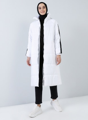 White - Fully Lined - Polo neck - Coat