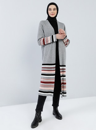 Gray - Stripe - Shawl Collar - Acrylic -  - Cardigan