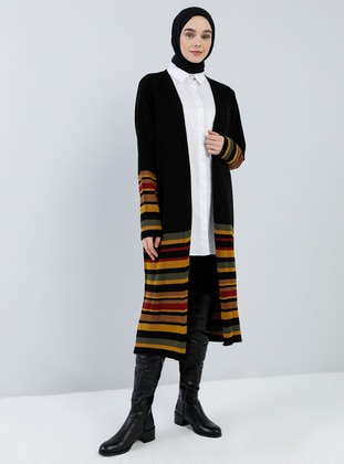 Black - Stripe - Shawl Collar - Acrylic -  - Cardigan