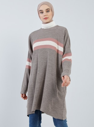 Brown - Stripe - Crew neck - Acrylic -  - Tunic
