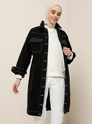 Black - Unlined - Point Collar -  - Jacket - Benin