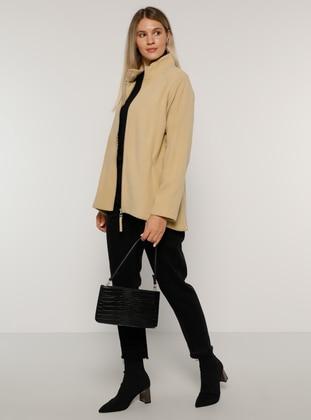 Beige - Unlined - Polo neck - Plus Size Coat