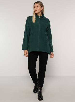 Green - Unlined - Polo neck - Plus Size Coat - Alia