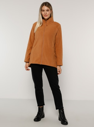 Camel - Unlined - Polo neck - Plus Size Coat - Alia