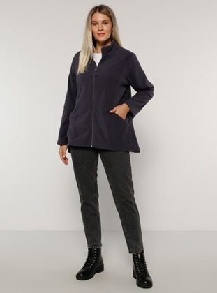 Navy Blue - Purple - Unlined - Polo neck - Plus Size Coat - Alia