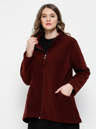Plum - Unlined - Polo neck - Plus Size Coat - Alia