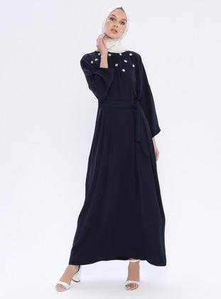 Navy Blue - Crew neck - Unlined - Dress