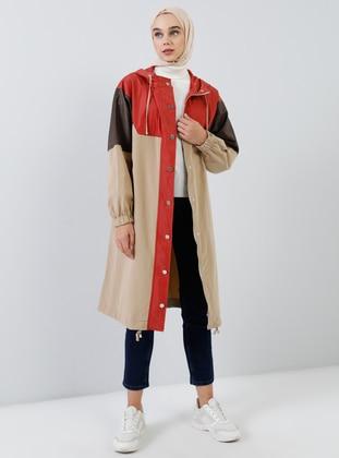 Beige - Maroon - Brown - Unlined - Polo neck -  - Topcoat