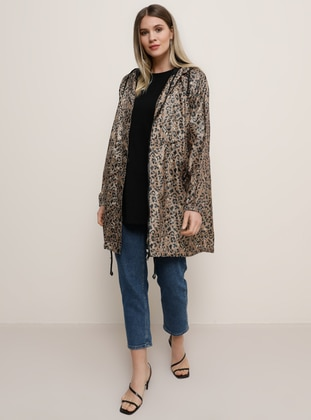 Brown - Leopard - Unlined - Plus Size Coat - Alia