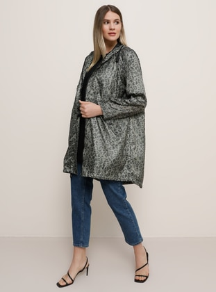 Khaki - Leopard - Unlined - Plus Size Coat - Alia