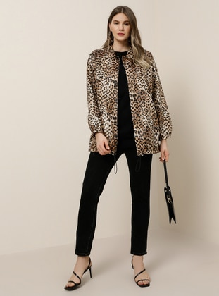 Brown - Leopard - Fully Lined - Point Collar - Plus Size Coat - Alia