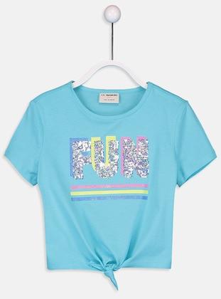 Crew neck - Turquoise - Girls` T-Shirt - LC WAIKIKI