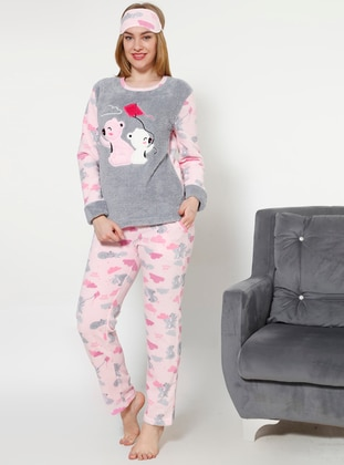 Gray - Pink - Crew neck - Multi - Pyjama