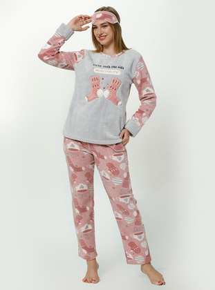 Gray - Mink - Crew neck - Multi - Pyjama