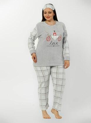 Gray - Crew neck - Checkered - Pyjama