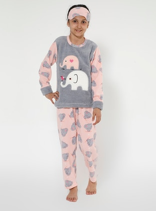 Multi - Crew neck - Unlined - Gray - Pink - Girls` Pyjamas