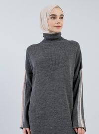 Antrasit - Yüksek yakalı - Astarsız kumaş - Akrilik - File - Elbise