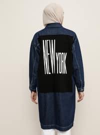 Navy Blue - Unlined - Point Collar - Denim -  - Jacket