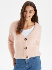 V neck Collar - Pink - Cardigan