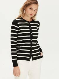Stripe - Crew neck - Black - Cardigan