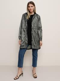 Khaki - Leopard - Unlined - Plus Size Coat