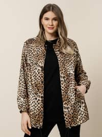 Brown - Leopard - Fully Lined - Point Collar - Plus Size Coat
