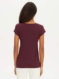 V neck Collar - Plum - T-Shirt